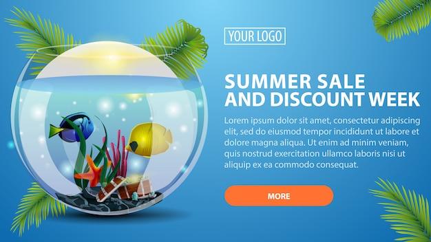 Vendita estiva e settimana sconto, banner orizzontale sconto per il tuo sito web