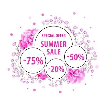 Vendita estiva, etichetta offerta speciale con fiori rosa, punti e adesivi sconto.
