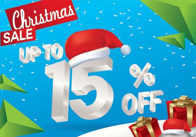 Vendita natalizia del 15 percento. fondo di vendita di inverno con testo del ghiaccio 3d con il cappello il babbo natale