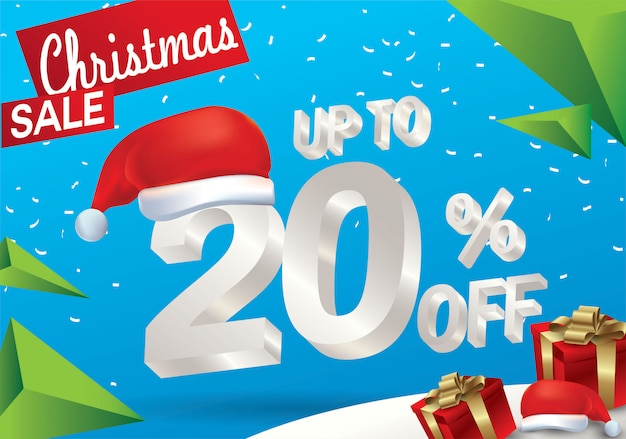 Vendita natalizia del 20 percento. fondo di vendita di inverno con testo del ghiaccio 3d con il cappello santa