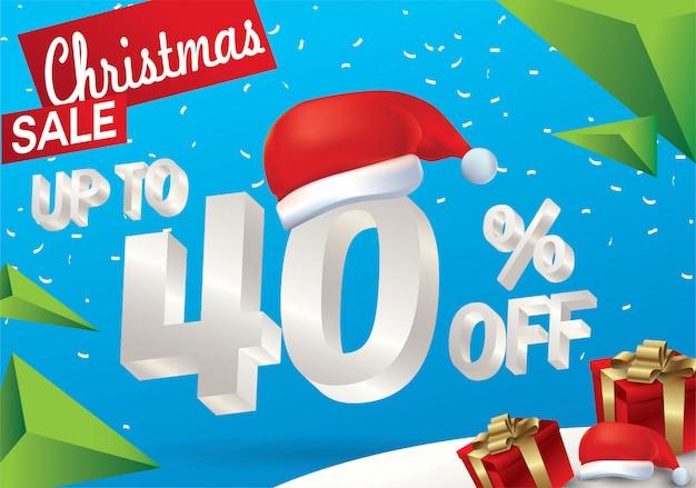 Vendita natalizia del 40 percento. fondo di vendita di inverno con testo del ghiaccio 3d con il cappello santa