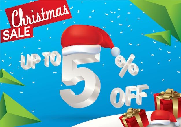 Vendita natalizia del 5 percento. fondo di vendita di inverno con testo del ghiaccio 3d con il cappello il babbo natale