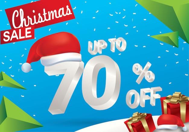 Vendita natalizia del 70 percento. fondo di vendita di inverno con testo del ghiaccio 3d con il cappello santa