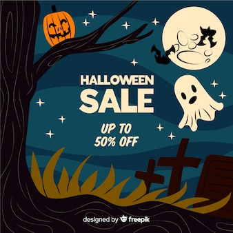 Vendita notturna di halloween con creature