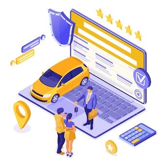 Vendita online, acquisto, affitto, concetto isometrico di auto per l'atterraggio, pubblicità con auto, laptop, agente immobiliare, chiave, coppia con carta di credito. noleggio auto, carpool, car sharing. isolato