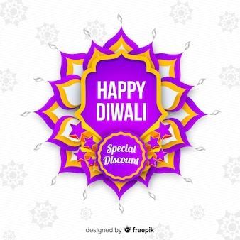 Vendita piana di diwali su fondo bianco