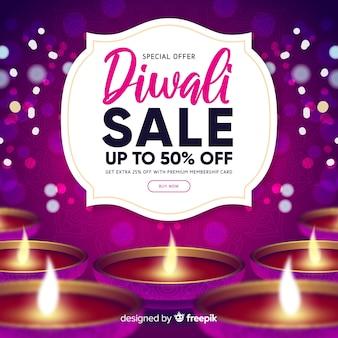 Vendita realistica di diwali con sfondo viola sfocato