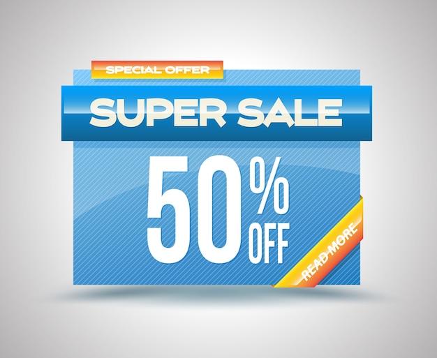 Vendita super banner modello di vendita vettoriale 50% di sconto.