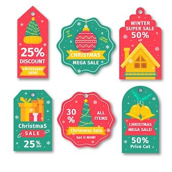 Vendita tag collezione natalizia in tonalità rosse gialle e verdi