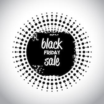 Vendita venerdì nero. tipografia semplice in una forma astratta nera su sfondo bianco