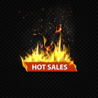 Vendite calde, banner web fiammeggiante
