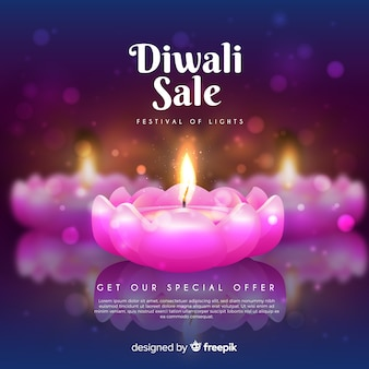 Vendite del festival diwali con bellissime candele rosa