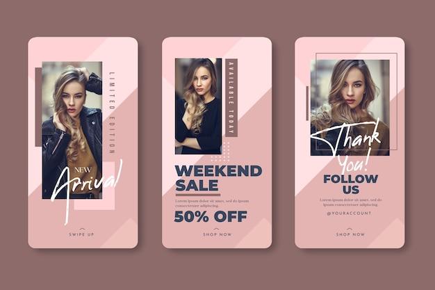 Vendite del modello di storie del instagram della donna di modo