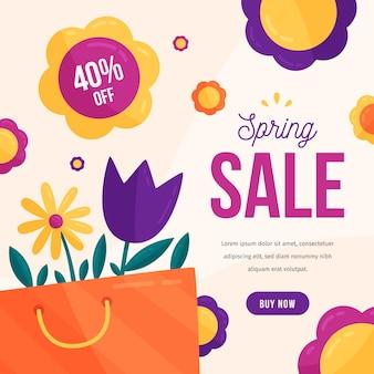Vendite di design piatto primavera con fiori colorati