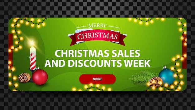 Vendite di natale e settimana di sconto, banner web orizzontale moderno luminoso verde con pulsante