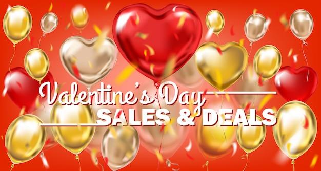 Vendite di san valentino e offerte banner in oro rosso con palloncini metallici