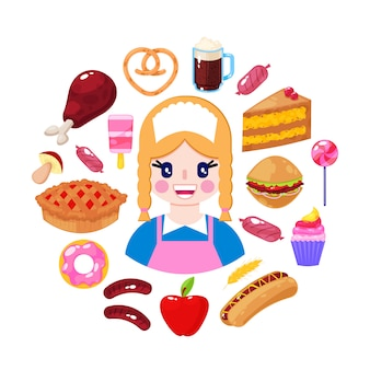 Venditore allegro e alimenti a rapida preparazione su fondo bianco. operaio del supermercato illustrazione vettoriale