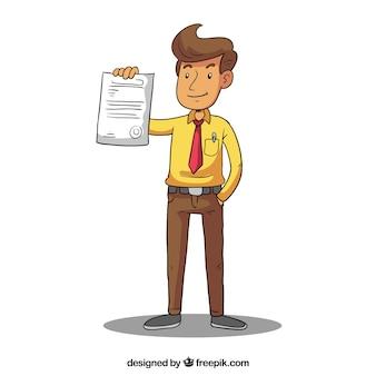 Venditore che mostra il contratto
