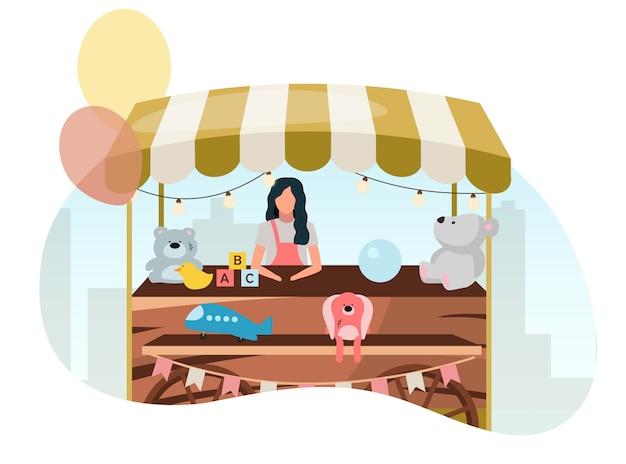 Venditore che vende i giocattoli all'illustrazione piana del carretto di legno del mercato di strada. stallo negozio retrò su ruote. carrello commerciale con giocattoli artigianali. festival estivo, personaggio dei cartoni animati di carnevale all'aperto negozio venditore