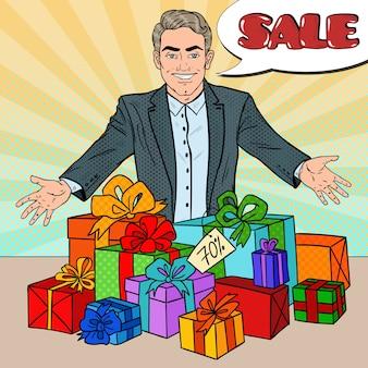 Venditore con regali scontati