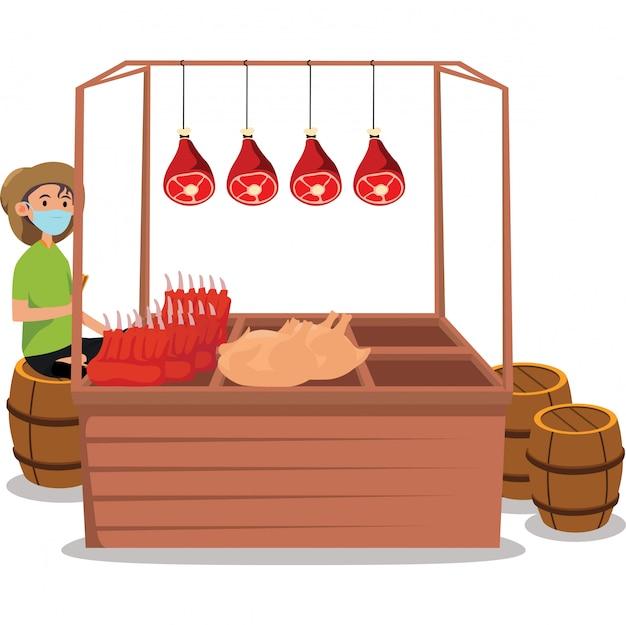 Venditore di carne che vende l'illustrazione di carni fresche