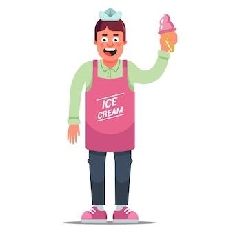 Venditore di gelati grembiule allegro su uno sfondo bianco. personaggio piatto