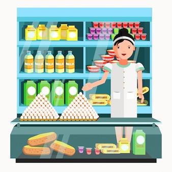 Venditore di prodotti lattiero caseari allo sportello e bancarella.