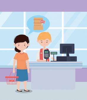 Venditore e cliente con cestino e supermercato esaurito