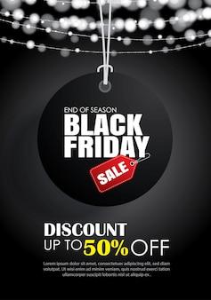 Venerdì nero con modello di volantino di vendita appeso tag