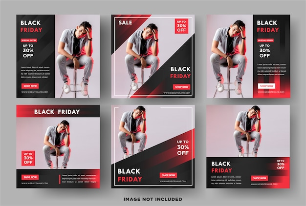 Venerdì nero. modello di banner post social media