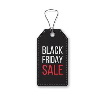Venerdì nero realistico strutturato, etichetta di vendita su una corda. simbolo della vendita delle vacanze di natale.