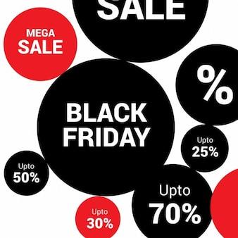Venerdì nero rosso creativo e cerchio sfondo nero