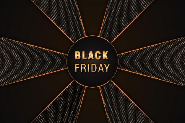 Venerdì nero sfondo astratto nero con mezzetinte glitter dorato