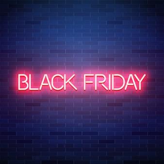 Venerdì nero testo al neon su sfondo di mattoni