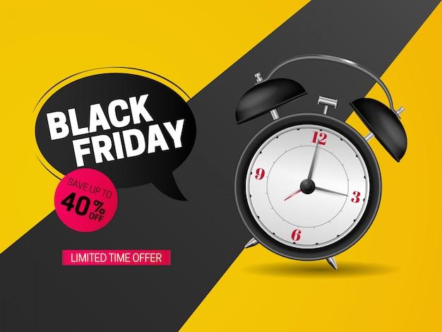 Venerdì nero vendita banner design con orologio