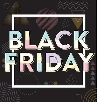 Venerdì nero vendita design tipografico di memphis stile