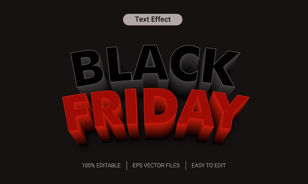 Venerdì nero vendita effetto testo stile