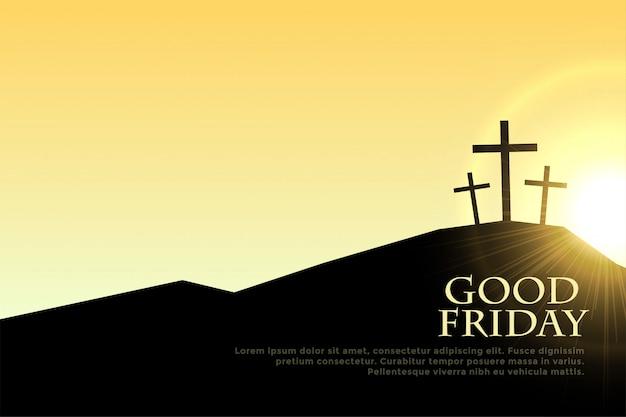 Venerdì santo segni della croce con il chiarore della luce del sole