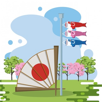 Ventaglio giapponese nel paesaggio