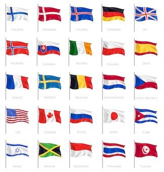 Venticinque bandiere nazionali d'ondeggiamento isolate su bianco con iscrizione dei nomi di paesi realistici