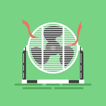 Ventilatore a pavimento mini con nastri rossi
