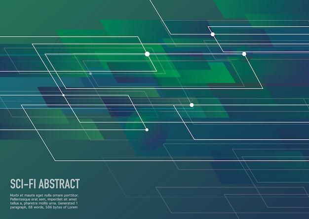 Verde e fondo astratto di fantascienza di fantascienza. progettazione corporativa di vettore