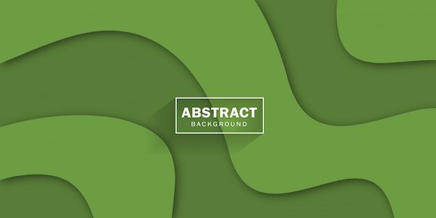 Verde moderno con forme ondulate alla moda astratte e rilievo 3d per il disegno della bandiera.