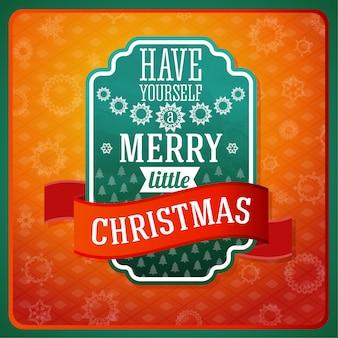 Verde stilizzato vintage etichetta merry little christmas