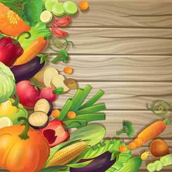 Verdura fresca sulla composizione concettuale in legno con i simboli dei cartoni animati di alimenti biologici maturi su fondo di legno marrone