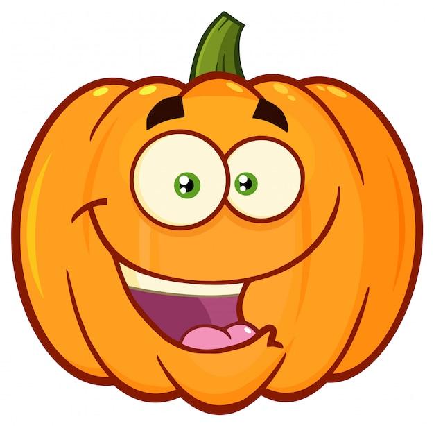 Verdura zucca arancione cartoon emoji face character