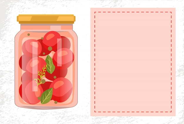 Verdure di pomodoro in scatola conservate cibo in vaso di vetro
