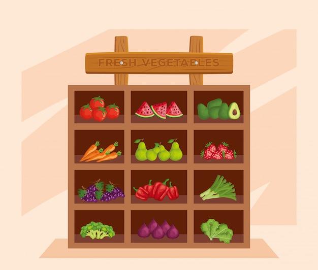 Verdure fresche e prodotti sani e freschi