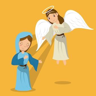 Vergine maria con scena annuncio angelo