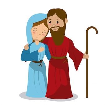 Vergine maria e giuseppe che abbracciano il bastone